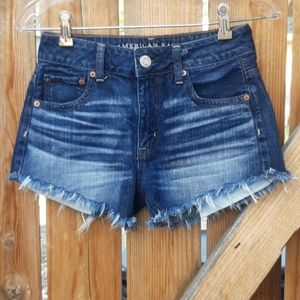 American eagle hi rise festival jean shorts sz 0